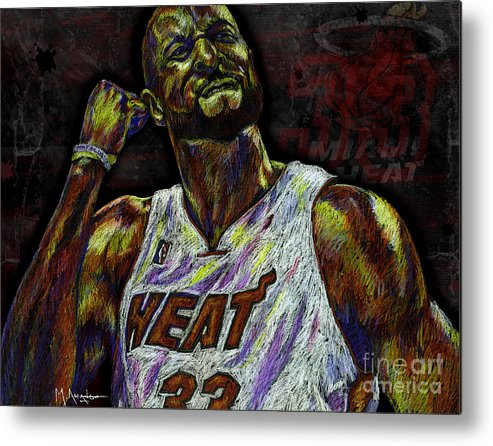 Alonzo Mourning Metal Print featuring the drawing Zo by Maria Arango