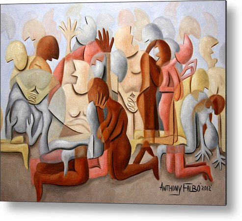 Every Knee Shall Bend Every Mouth Shall Confess Jesus Is Lordevery Knee Shall Bend Framed Prints Metal Print featuring the painting Every Knee Shall Bend Every Mouth Shall Confess Jesus Is Lord by Anthony Falbo