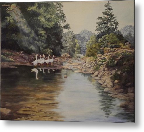 Landscape Metal Print featuring the painting Mountain Home Creek by Wanda Dansereau