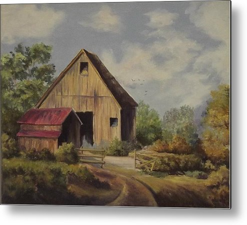 Landscape Metal Print featuring the painting The Deserted Barn by Wanda Dansereau