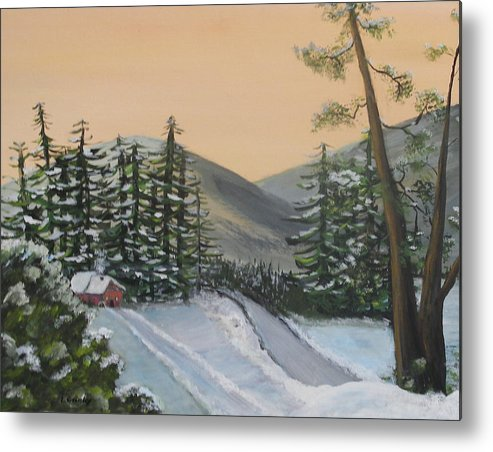Winter Metal Print featuring the painting Winter by Lessandra Grimley