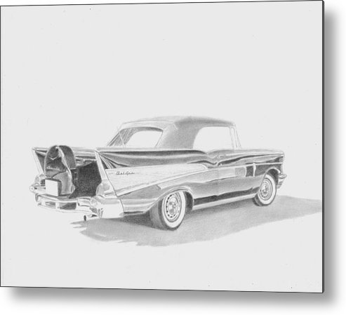 Rooks10904 Drawings Metal Print featuring the drawing 1957 Chevrolet Bel Air Convertible Commission by Stephen Rooks