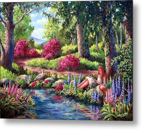 Read Metal Print featuring the painting Her Reading Hideaway by David G Paul