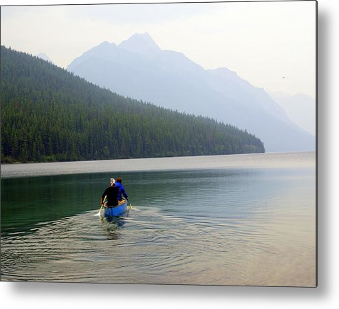 Mountains Metal Print featuring the photograph Kintla Lake Paddlers by Marty Koch