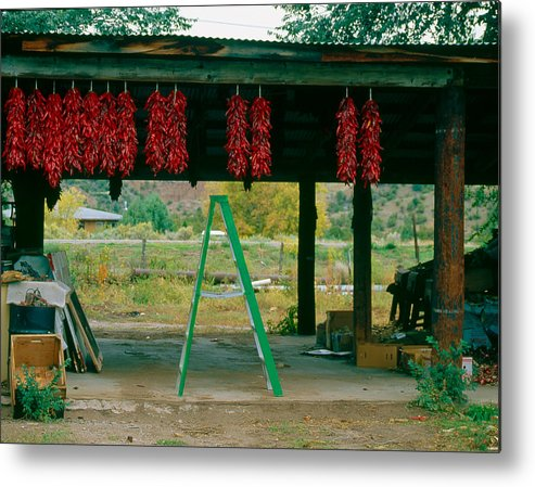 Canon Eos A2 Metal Print featuring the photograph Ladder And Ristras Sopyn's Fruit Stand Rinconada Nm by Troy Montemayor