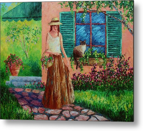 Woman Metal Print featuring the painting Peaceful Thoughts by David G Paul