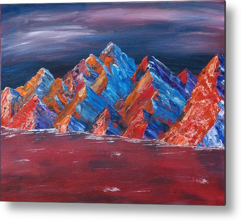 Landscape Metal Print featuring the painting Red Mountains by Kim Nelson