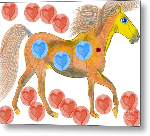 Horses Metal Print featuring the painting Zelig by Tess M J Iroldi