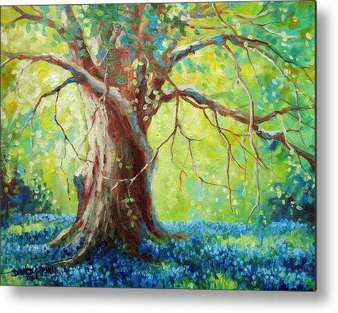 Bluebonnets Metal Print featuring the painting Bluebonnets Under The Oak by David G Paul
