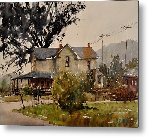 Watercolor Metal Print featuring the painting Discussing Grandpa's House by Brienne M Brown