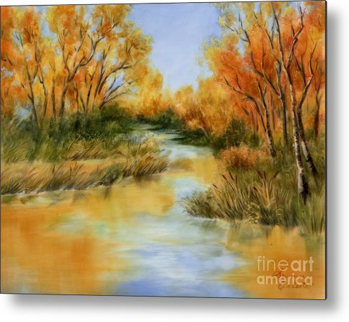 Landscape Metal Print featuring the painting Fall River by Summer Celeste
