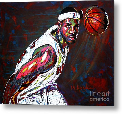 Lebron Metal Print featuring the painting Lebron James 2 by Maria Arango