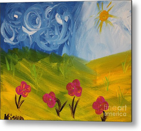 Abstract Metal Print featuring the painting Montana Summer by Kristen Newman