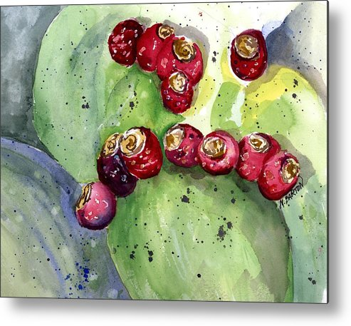 Cactus Metal Print featuring the painting Prickly Pear Fruit by Marilyn Barton