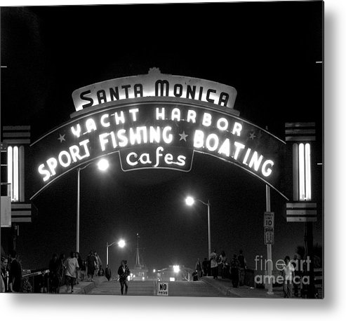 Sign Metal Print featuring the photograph Santa Monica Pier 1 by David Doucot