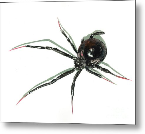 Spider Metal Print featuring the painting The Devil Wears Pink Toe Nails. by Richard Brooks