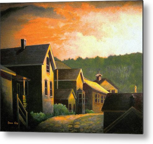 Colorado Mountains Old Houses Sunset New Mexico Sky Giclee Print Metal Print featuring the painting Blackhawk Colorado Sunset by Donn Kay