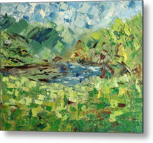 Mountain Metal Print featuring the painting In The Mountains by Natia Tsiklauri