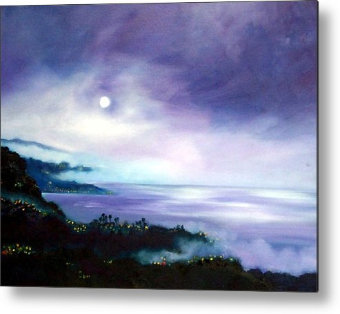 Night Metal Print featuring the painting Approaching Fog by Dorothy Nalls