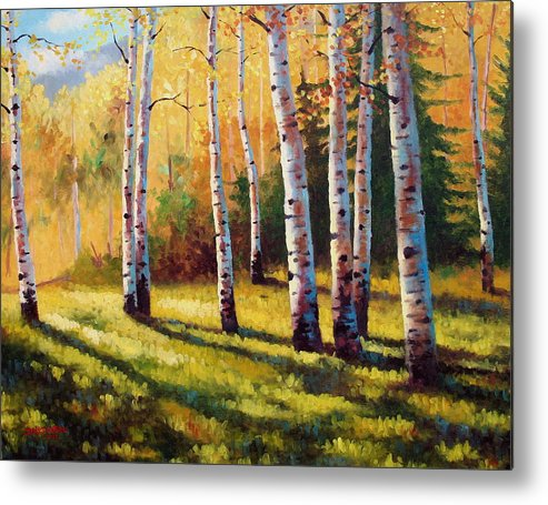 Landscape Metal Print featuring the painting Autumn Shade by David G Paul