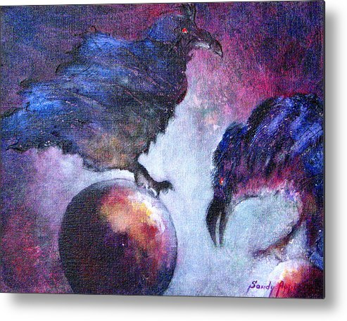 Raven Metal Print featuring the painting Bird Or Fiend by Sandy Applegate