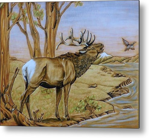 Aniamls Metal Print featuring the painting Call Of The Wild. by Lilly King