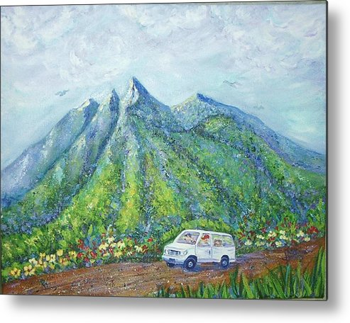 Mountains Metal Print featuring the painting Chief And Amigos South Of The Border by Sheri Hubbard