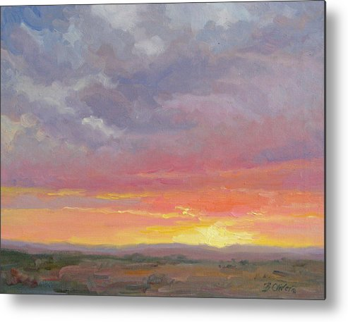 Sunset Metal Print featuring the painting Desert Sundown by Bunny Oliver