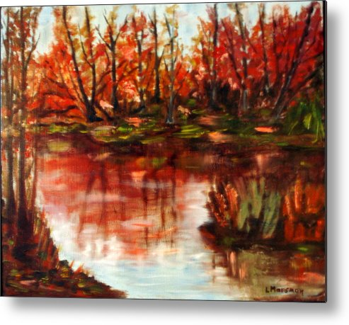 Landscape Metal Print featuring the painting Fall Reflections by Lia Marsman