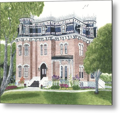 Historic Buildings Painting Metal Print featuring the painting Glanmore National Historic Site Circa 1883 by Peggy Holcroft