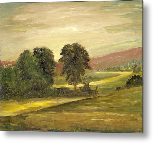 Landscape Metal Print featuring the painting Golden End Of The Day by Michael Scherer