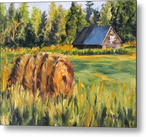 Landscape Metal Print featuring the painting Hayroll And Barn by Cheryl Pass