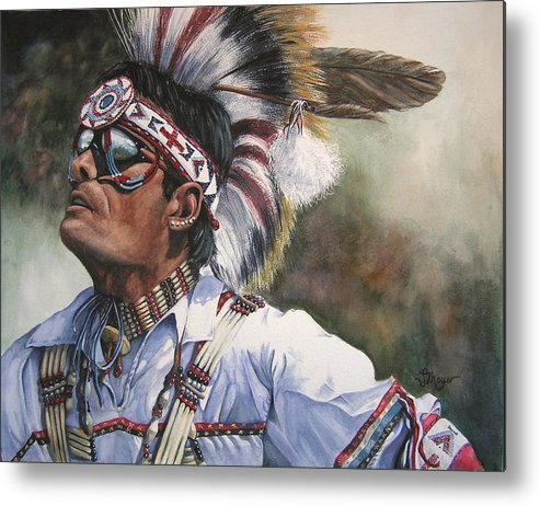 Portrait Metal Print featuring the painting He Lives In Two Worlds by Susan Moyer