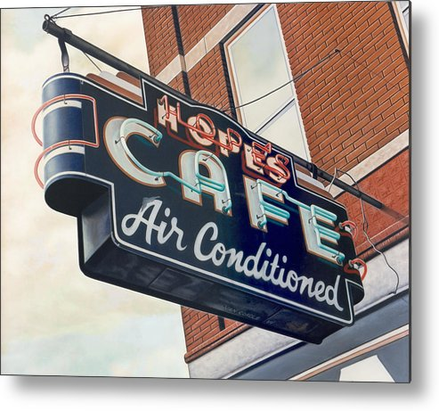Cityscape Metal Print featuring the painting Hope's Cafe by Van Cordle