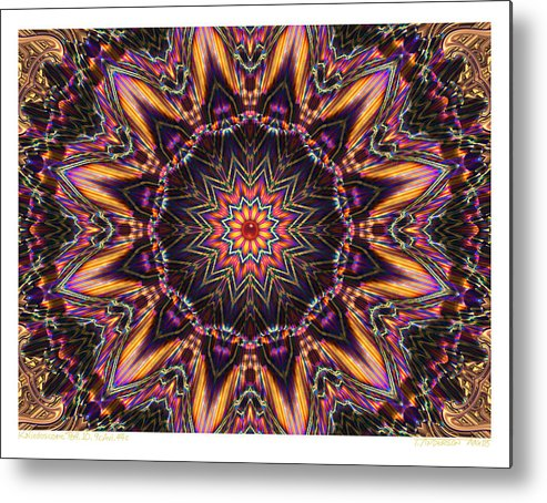 Kaleidoscopes; Mandala Images; Autumn Colors; Kaleidoscopic Art Metal Print featuring the digital art kaleido Perf10 9cAvi 44 by Terry Anderson