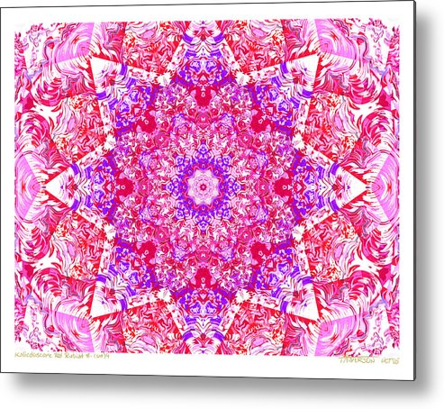 Kaleidoscope; Mandala; Valentine Colors; Red Metal Print featuring the digital art Kaleido Red Rubi 8 by Terry Anderson