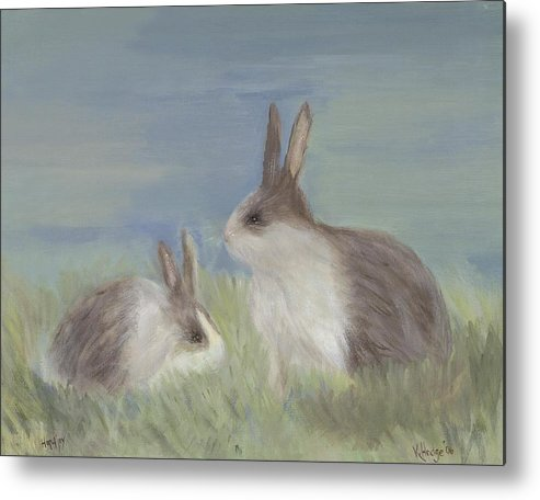 Bunny Metal Print featuring the painting Love Buns by Kimberly Hodge