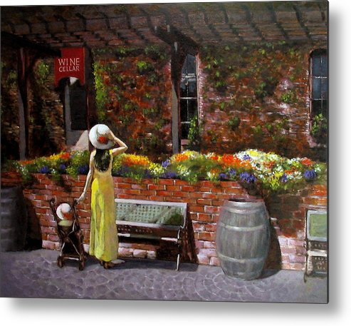 Landscape Metal Print featuring the painting Napa Wine Cellar In Spring by Takayuki Harada