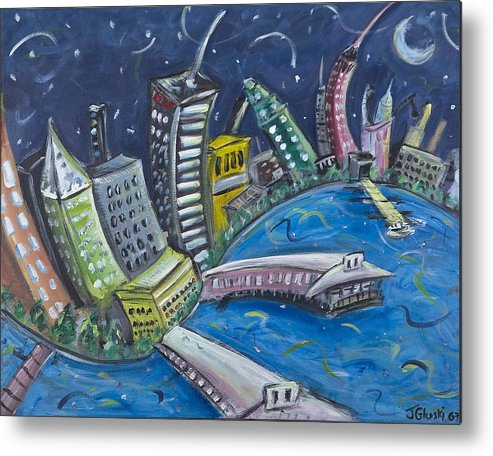 New York City Manhattan Hudson River Metal Print featuring the painting New York City Skyline Hoboken by Jason Gluskin