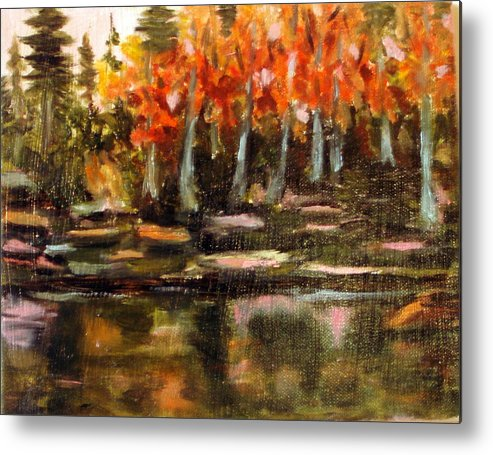 Fall Metal Print featuring the painting Pond 1 by Lia Marsman