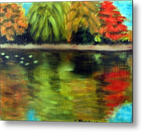 Fall Metal Print featuring the painting Pond 2 by Lia Marsman