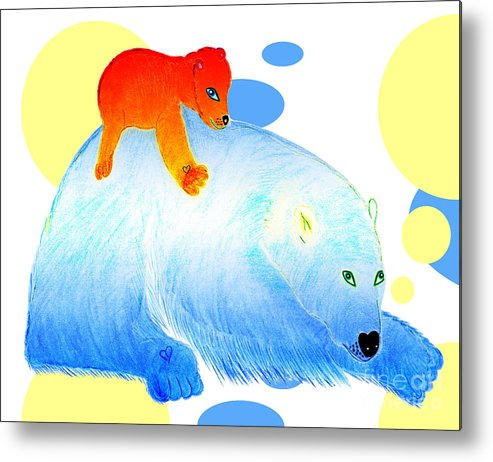 Bears Metal Print featuring the painting Ruby And Apple by Tess M J Iroldi