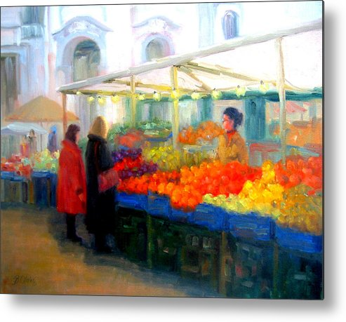 Market Metal Print featuring the painting Salzburg Shoppers by Bunny Oliver