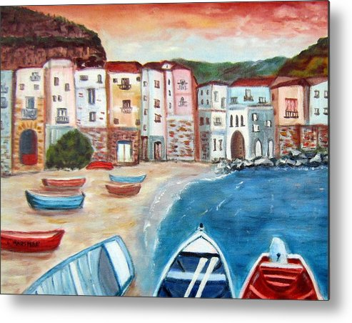 Landscape Metal Print featuring the painting Sicilian Fishing Village by Lia Marsman