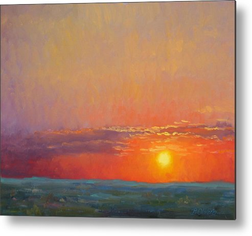 Sunset Metal Print featuring the painting Summer Of The Red Sky by Bunny Oliver