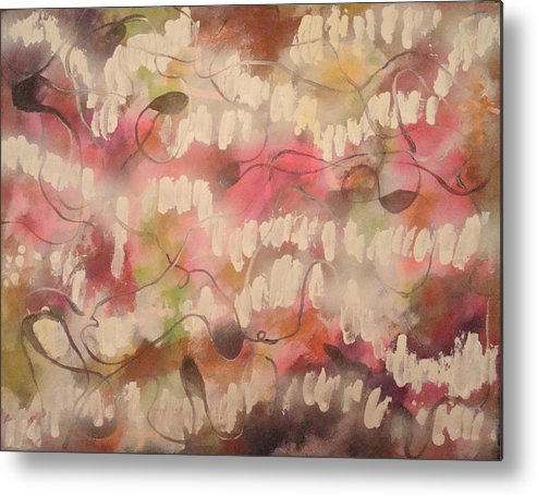 Abstract Pink Metal Print featuring the painting Summer Reflection by W Todd Durrance