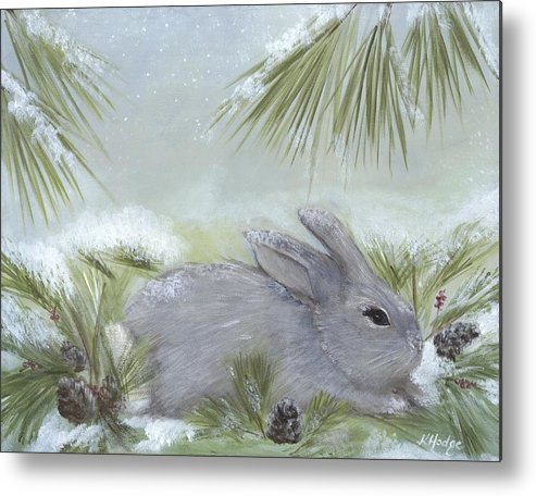 Rabbit Metal Print featuring the painting Taking Cover by Kimberly Hodge