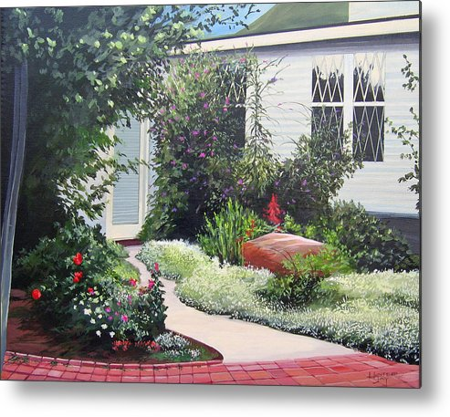 Garden Path Metal Print featuring the painting The Hidden Garden by Hunter Jay