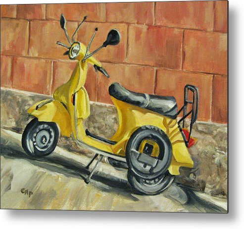 Vespa Metal Print featuring the painting Vespa 1 by Cheryl Pass