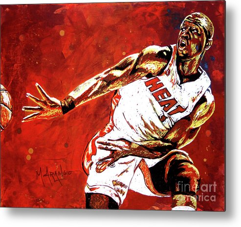 Dwyane Wade Metal Print featuring the painting Wade Passes by Maria Arango